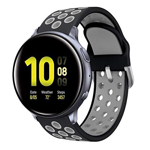 Syxinn Compatible con 20mm Correa de Reloj Galaxy Watch Active/Active 2 40mm 44mm/Galaxy Watch 42mm Banda 20mm Silicona Pulsera para Gear Sport/Gear S2 Classic(SM-R732/SM-R735)