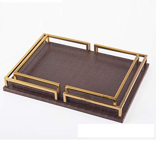 TOL MY Dekorative Ornamente Tablett, Metall rechteckige Obst Tablett Dekoration Hotel weiche Dekoration Kosmetik Schmuck Aufbewahrungstablett
