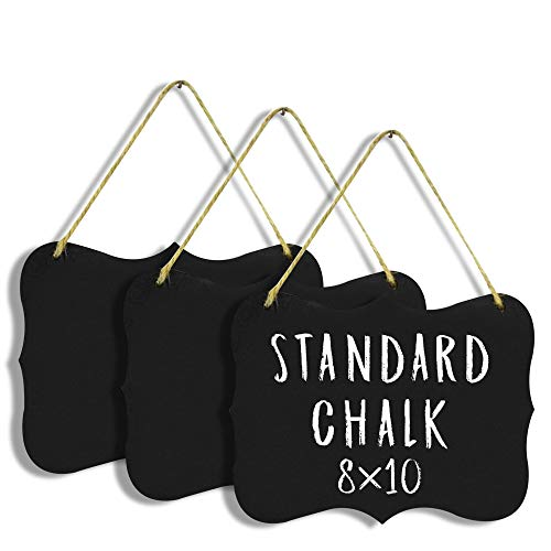 """Hanging Chalkboard Signs Large 8x10"""" Acrylic - Double Sided 