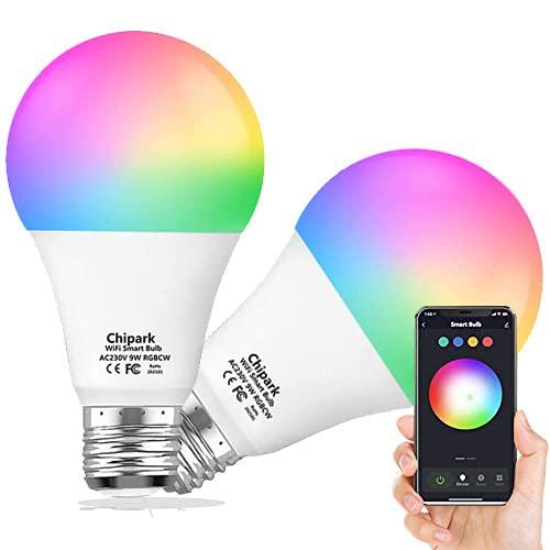 Chipark Bombillas inteligentes compatibles con Alexa Echo y Google Home, bombillas LED de cambio de color regulable, A19 E26 8 W blanco cálido 2700 K, 75 W, no requiere concentrador, 2 unidades