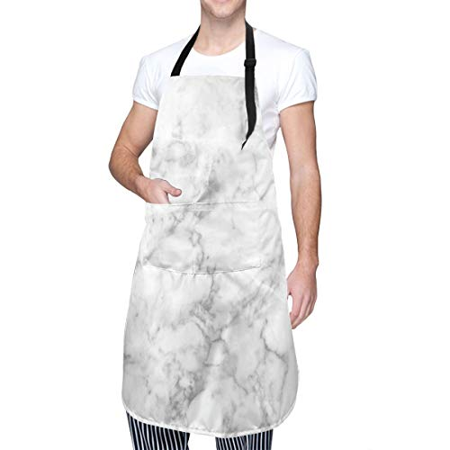 COFEIYISI Delantal de Cocina Patrón de granito natural con efectos de rastro de manchas nubladas Imagen artística de mármol Delantal Chefs Cocina para Cocinar/Hornear
