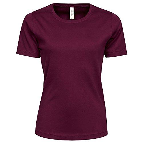 Tee Jays Damen Interlock T-Shirt, Rundhalsausschnitt, Kurzarm (S) (Weinrot)