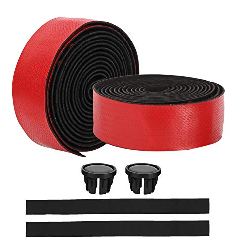 FOLOSAFENAR Shock Absorption Three Colours ZTTO High Elastic EVA/Imported PU Handlebar Tape Bicycle Handlebar Tape,for Endurance Race .for Mountain Bicycle(Red black)