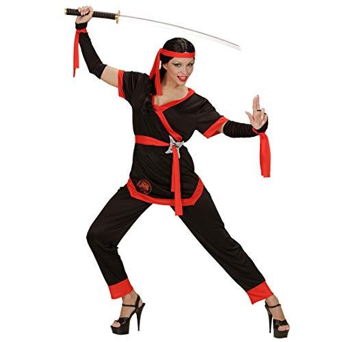 NET TOYS Schickes Ninja Damen-Kostüm | Schwarz-Rot in Größe L (42/44) | Aufregendes Frauen-Outfit Samurai Japanische Kämpferin | Passend gekleidet für Themenabend & Karneval