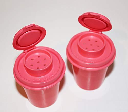 Tupperware Salt and Pepper Shakers Mini Midgets Set in Watermelon/Pink