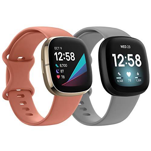 HAPAW Correa Compatible con Fitbit Versa 3 / Fitbit Sense Correa, 2 Paquetes Suave Versa 3 Correa de Repuesto para Reloj Deportivo Pulseras para Mujeres y Hombres.