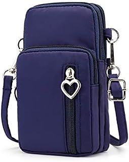 Zipper Water Resistant Oxford Crossbody Shoulder Bag Cellphone Pouch Purse Wrist Case for Motorola Moto G7 Plus / G7 Play/Samsung Galaxy S10 / S10e / S10 Plus/LG G8 ThinQ / V50 ThinQ (Blue)