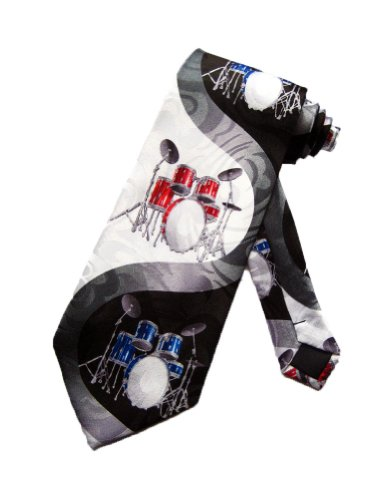 Steven Harris Mens Drum Set Percussion Necktie - Black and White - One Size Neck Tie