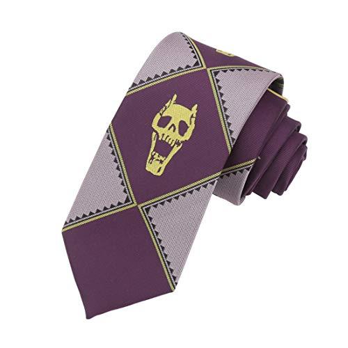 Anime JoJo's Bizarre Adventure KILLER QUEEN Cosplay Costumes Kira Yoshikage Skull Neck Tie