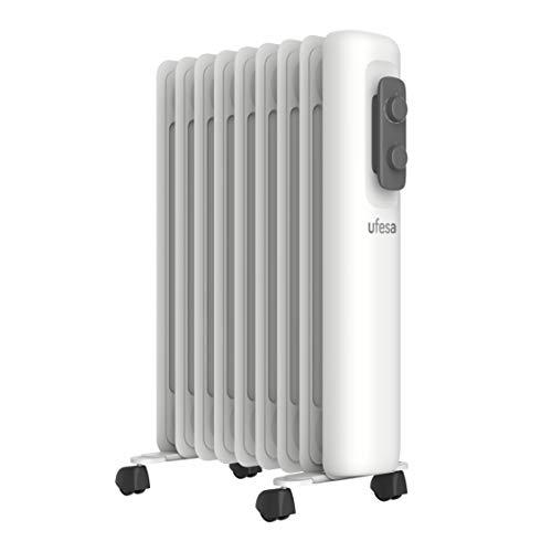 Ufesa RD2000A - Radiador de Aceite Portátil 2000W, 9 elementos, Diseño Slim, Termostato Regulable, 3 Niveles de Temperatura, Sistema Seguridad Antivuelco