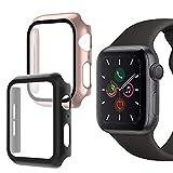 Oududianzi-Coque pour Apple Watch Series 6/SE/5/4 avec Protection écran en Verre Trempé, Protection Complète à 360°Coque Rigide PC Ultra-Mince pour iWatch Series 6/SE/5/4 40mm (2pièces, Noir+Or Rose)