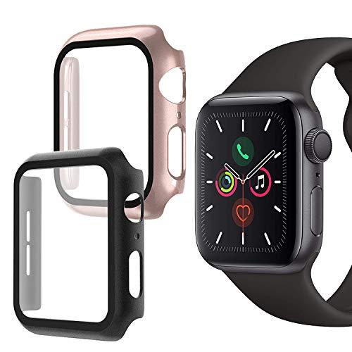 Oududianzi - Hülle für Apple Watch Series 5 / Series 4 mit Panzerglas Displayschutz, 360° Vollschutz Ultradünne PC Hardcase für Apple Watch Serie 4 / Serie 5 40mm (2Stück,1 Schwarz+1 Roségold)