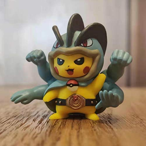 CJH Pokemon: Pikachu (Machop Cosplay) Cambiar la Figura de acción de Juguete de Regalo Modelo N8ntendo 3DS NDS Decoración PokeGO muñeca Adornos