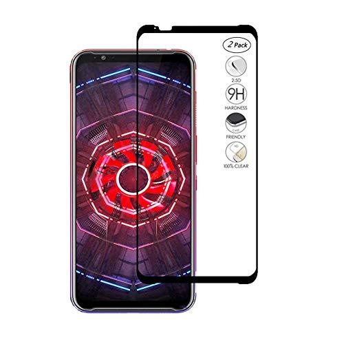 HERCN ZTE Nubia Red Magic 3 Bildschirmschutzfolie,Full Coverage Vollkleber 2.5D 9H Festigkeit Gehärtetem Glas Tempered Bildschirmschutz Screen Protector für ZTE Nubia Red Magic 3 Smartphone (Schwarz-2 Pack)