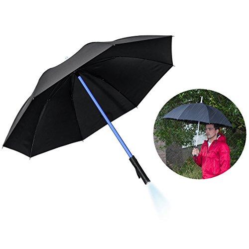 Itian Paraguas Negro con Luz de Led - con Construido en Linterna LED, Multi Cambia de Color Paraguas
