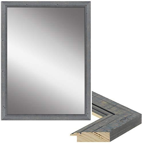 WANDStyle Spiegel Shabby Chic und Vintage Stil I Außenmaß ca. 27x67cm I Farbe: Grau I Grauer Wandspiegel aus Holz I Made in Germany I H660