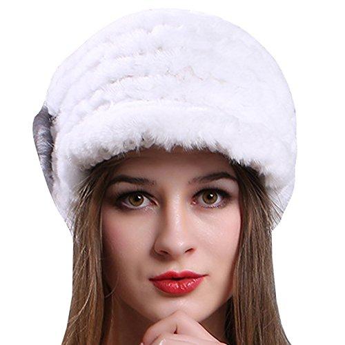 AnKoee Cappello Donna Invernale Cappello Mantieni Caldo Cappelli Donna Berretti, Cappello con Orecchie per Donne, Cappello Donna Inverno con Visiera (Bianco)