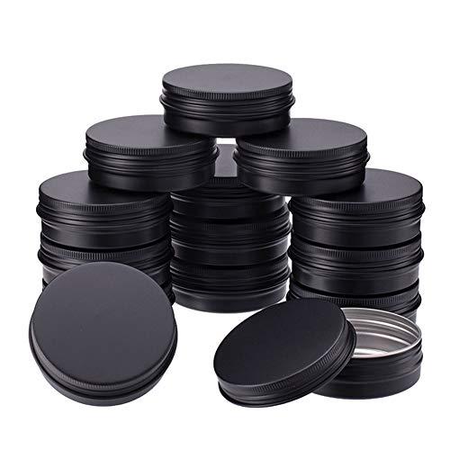 BENECREAT 15 Pack 60ml Latas de estano con Tapa de Rosca, latas Redondas de Aluminio, latas con Tapas de Rosca y Tapas: Ideal para almacenar Especias, Caramelos, te o Regalos (Negro)