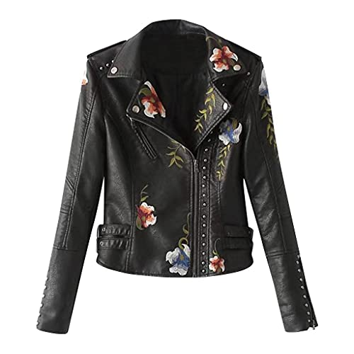 Zilosconcy Lederjacke Damen mit Nieten Kurz Schwarz Bikerjacke Stickerei Reißverschluss Motorradjacke Vintage Kurzjacke Slim Fit Leder Jacke...