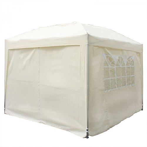 Faltpavillon mit 4 Seitenteilen 3 x 3 m, beige :: Pavillon Partyzelt in 6 Farben, faltbar inkl. Transporttasche