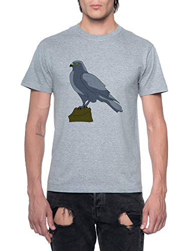 Perched Falcon Mens T-Shirt Grey Round Neck