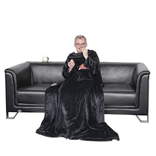 WOLTU Samtweiche TV-Decke mit Ärmel, Fußsack & 2 Taschen aus Cashmere Feeling Flanell XL XXL Kuscheldecke Decke Fleecedecke Wohndecke Tagesdecke Mikrofaserdecke, 150x180cm Schwarz, BWK5010sz