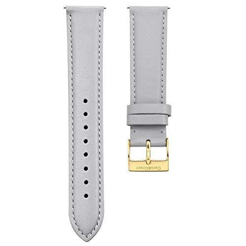 Cara & Grace Premium Uhrenarmband Grau aus echtem italienischen Leder 20 mm