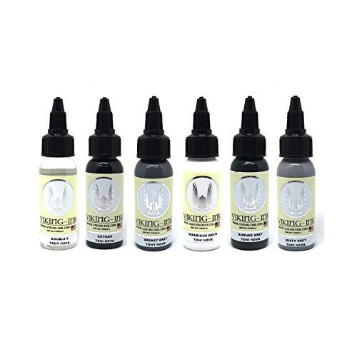 Tattoo Farbe Ink Kit 6 Colours Toni Nova 1oz (30ml) VIKING INK USA TINTE FÜR TÄTOWIERUNG vegan