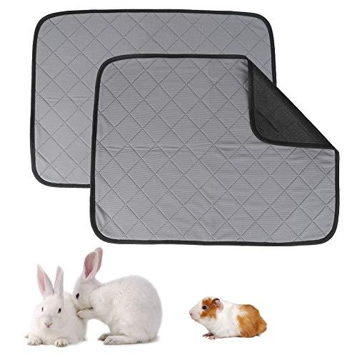 Juego de 2 alfombras para jaula de cerdo de India, lavable, impermeable, manta absorbente para pequeños animales conejos, enano, hámster y erizo 60 x 45 cm
