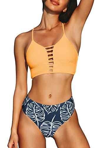 :CUPSHE Women's Orange and dark blue Leaves Print Lace Bikini Set Large