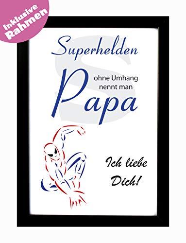 Bilderrahmen mit Spruch - Superhelden ohne Umhang nennt man Papa als Geschenk zu Weihnachten oder zum Vatertag inkl. Rahmen aus Holz - Hochwertiger Druck DIN A4