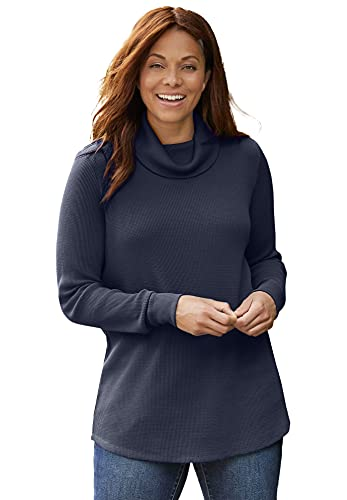Woman Within Women's Plus Size Thermal Waffle Turtleneck Long Underwear Top - 22/24, Navy Blue