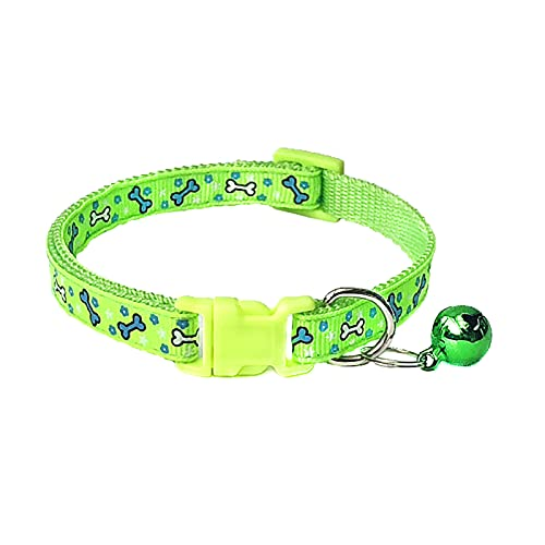Collar de mascota, perro gato hueso impresión campana ajustable hebilla collar correa cuello suministro de mascotas - verde fluorescente