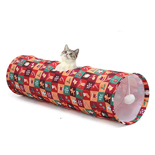 LUCKITTY Cat Tunnel Tube with Plush Ball Toys Collapsible, for Rabbits, Kittens, Ferrets,Puppy and...