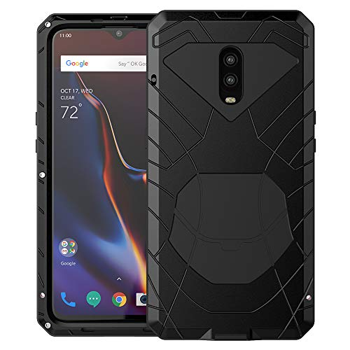OnePlus 6T Case, 6T Phone Case, Armor Aluminum Alloy Metal Cover Heavy Duty Soft Rubber Shockproof Protective Military Bumper Outdoor OnePlus 6T for Men with Tempered Glass Feitenn - Black