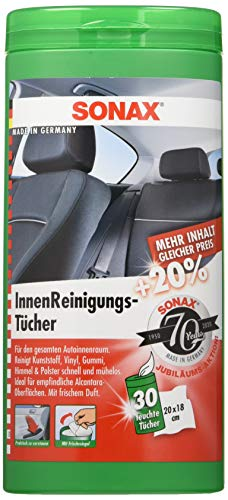 SONAX InnenReinigungsTücher Box (25 Stück) zur schnellen, einfachen und gründlichen Reinigung aller Flächen im Fahrzeuginnenraum | Art-Nr. 04122000