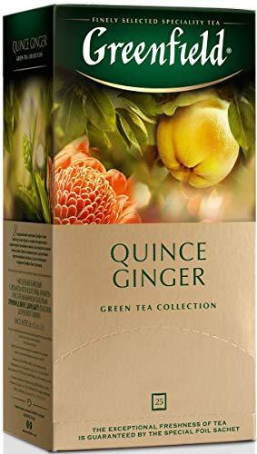 Greenfield Green Tea Quince Ginger Dessert Beverages Grocery Gourmet Food 25 Tea Bags