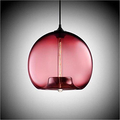 Suspensions Style européen rétro verre industriel lustres rond verre lustres personnalité créative couleur verre lustres restaurant lumières bar lustres lustres modernes, Rose