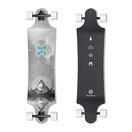 MINORITY Downhill Maple Longboard Skateboard | 40-inch Drop Trough Deck | Made for Cruising Ride (Alps)