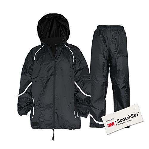 Salzmann 3M Tuta Antipioggia Riflettente | Impermeabile e Antivento | Set di Giacca e Pantaloni da Pioggia | Realizzato con 3M Scotchlite