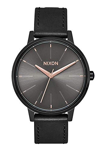 NIXON Kensington Leather A108 - Black/Gunmetal - 50m Water Resistant Women's Analog Classic Watch (37mm Watch Face, 16mm Leather Band)