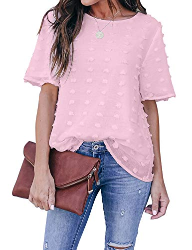 Blooming Jelly Womens Chiffon Blouse Summer Casual Round Neck Short Sleeve Pom Pom Shirt Top (Large, Pink)