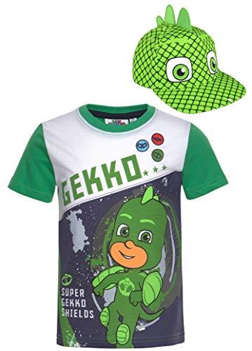 PJ MAASK T-shirt groen + cap bundel jongens set cappy gekko groen de pyjamahelden kinderen maat 98 104 110 116 128