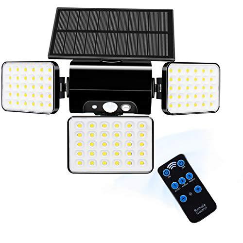 Mewtwo Solarlampen 1500LM superhelle 2W 5V LED Lampenperlen, IP65,360 ° einstellbar, drei Beleuchtungsmodi, drahtlos mit ferngesteuerter Solarleuchte für Garten, Zuhause