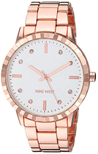 Nine West Women's NW/2282SVRG Crystal Accented Rose Gold-Tone Bracelet Watch
