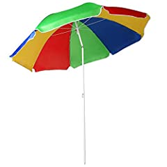 This is a polyester beach parasol (5.3ft/1.6m diameter), ideal for a holiday or the garden. It has an adjustable pole, max. height of the parasol is 190 cm. This tilt umbrella will give added shade throughout the day as the suns rays change. Complete...