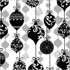 DECORLINE -20 Serviettes en Papier Noël ' Sparkle Ornament Black/Silver'- 33x33 cm-3 Plis