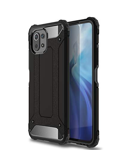 BAIDIYU Funda para Xiaomi Mi 11 Lite teléfono Caso, absorción de golpes, resistencia a caídas, TPU suave + PC duro diseño de doble capa es adecuado para Xiaomi Mi 11 Lite (Negro)