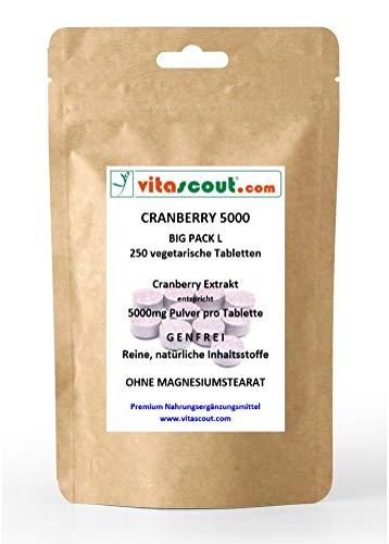 250 veget. Tabs Cranberry Extrakt 5000 - BESTER PREIS IM NETZ - OHNE MAGNESIUMSTEARAT