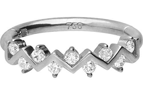 PIERCINGLINE 750er Gold Segmentring Clicker | 18 KARAT | ZICKZACK DESIGN mit KRISTALLEN | Piercing Ring Nase Septum Ohr Helix | Farb & Größenauswahl